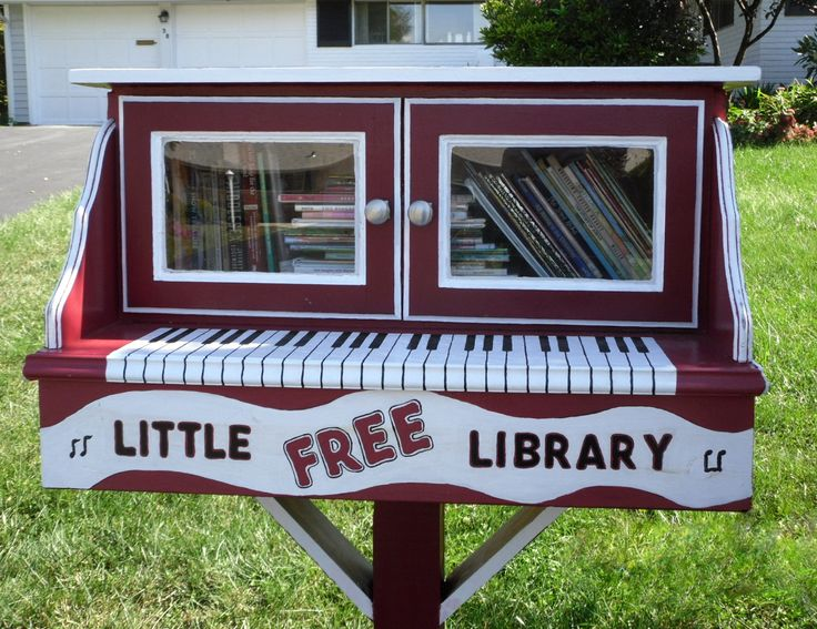Renee Flager. Levittown, PA.  When Renee saw an article about Little Free Libraries, she became the impetus behind our project. Soliciting the help of artist Marty Shively, they set to work. Since Renee has a piano in her home, she and Marty decided to make their library into the shape of a piano. This involved endless trial and error, using cardboard boxes as models until a final version emerged. This multi-generational masterpiece now proudly stands on the Flager's front lawn!