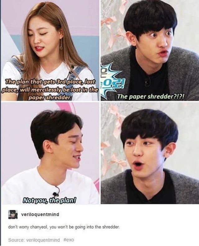 Don't worry chanyeol you won't be going into the shredder ...