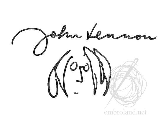 John Lennon signature autograph Machine Embroidery Design