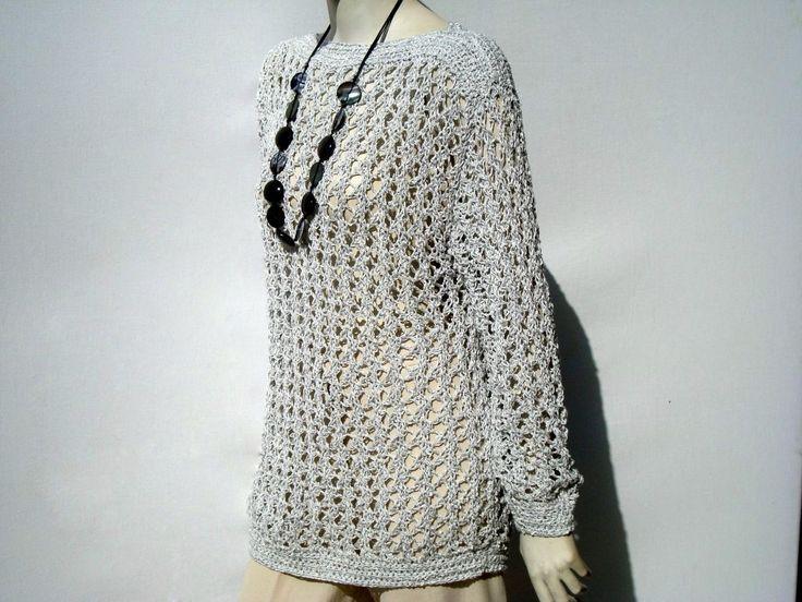 Light Gray Loose Knit Sweater by GreenCatStudio