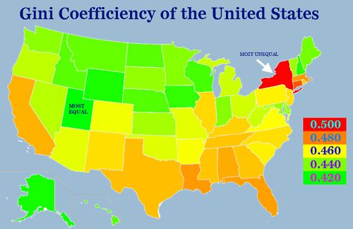 Gini Coefficiency of the United States  The Gini coefficient is a measure of wealth inequality. It ranges from 0 to 1, with a Gini coefficient of 1 meaning that one person owns all of the wealth and a coefficient of 0 meaning that all the people have the same amount of wealth. The state with the highest Gini coefficient, and therefore the most unequal, is New York, and the state with the lowest, the most equal, is Utah.