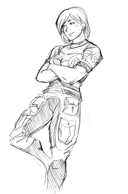 Line Drawing Effect Photo : Mass effect femshep i love line art rough sketchies
