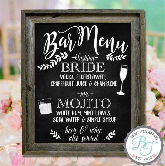 Bar boda pizarra muestra  boda personalizada por BeauTiedAffair
