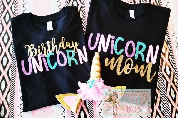 ebcbae184b8f7 Set of 2 Unicorn Squad Mommy & Daughter Matching Shirts • Design ~ Birthday  Unicorn and Unicor Mom >>> Names / Wording can be customized • Shirt Style:  ...