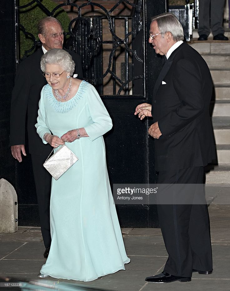 EVGENIA GL Queen Elizabeth Ii And Prince Philip Leaving A Party Celebrating The 70Th Birthday Of Hm King Constantine At The Home Of Crown Prince Pavlos And Marie-Chantal In London..