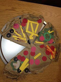 Paper bag Pizza art to pair with Pizza Parlour/Pete's a Pizza @Coyne's Crazy Fun Preschool Classroom: art