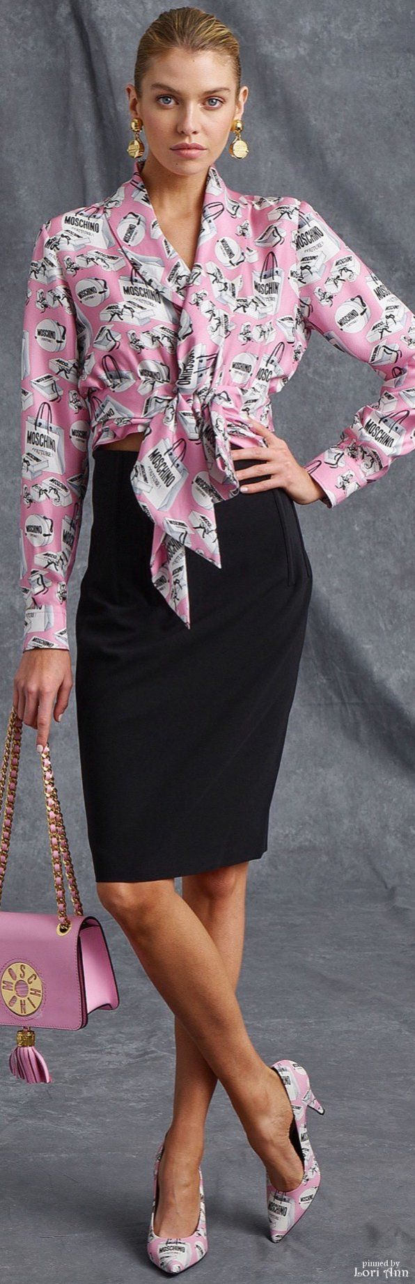 Moschino Resort 2016. Purple pink top, shoulder bag and heels, black pencil skirt. women fashion outfit clothing style apparel @roressclothes closet ideas