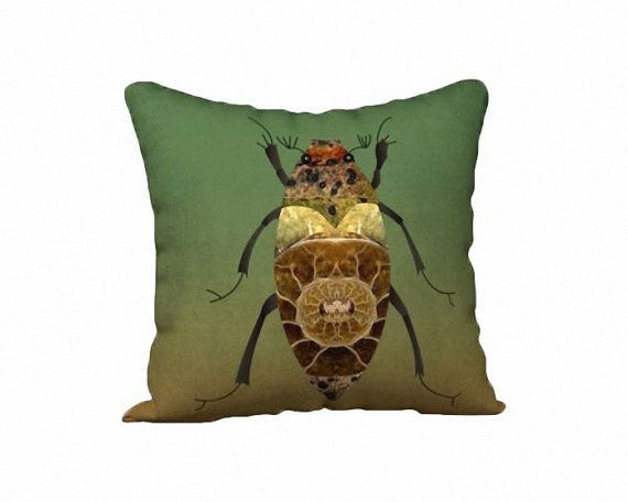 Green Printed Pillow Brown Bug Insect Cover Case by WhimZingers