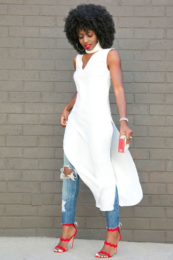 Sleeveless Side Slit Tunic + Distressed Ankle Length Jeans Style Pantry waysify