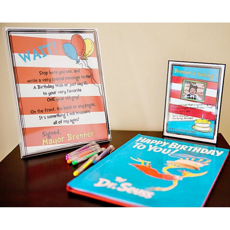 Dr Seuss Inspired Printable Birthday Book Sign