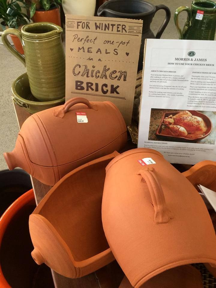 If one-pot meals are your thing, try our Chicken Brick, we swear by them for tender roast chicken, lamb shanks and casseroles. Great for curries too, just ask our Head Potter Ian Foote.  The trick is soaking the terracotta Chicken Brick in cold water 10 minutes before putting in the oven. The water slowly evaporates from the terracotta, creating the perfect cooking environment. These Chicken Bricks are extra special, made with our Morris and James Matakana clay.  www.morrisandjames.co.nz