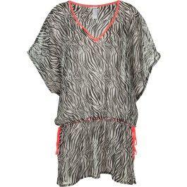robe de plage fluide, imprimé zèbre, sans manche, col en V, cordon réglable et liseré fluo