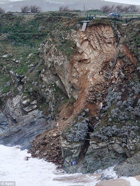 Land slide during storms at Lusty Glaze, Newquay, Cornwall - Feb 2014