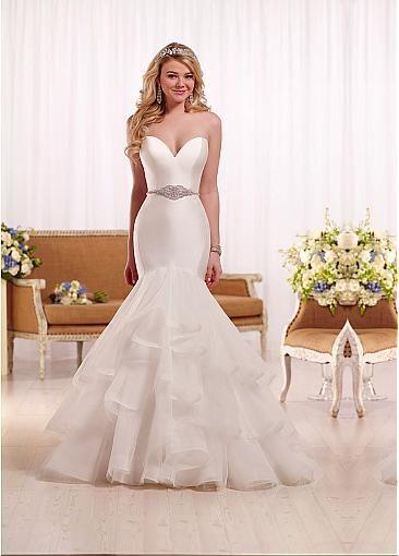 Junoesque Tulle & Satin Sweetheart Neckline Mermaid Wedding Dresses With…