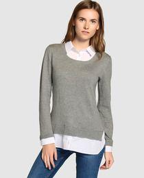 Jersey de mujer Fórmula Joven color gris con efecto dos piezas