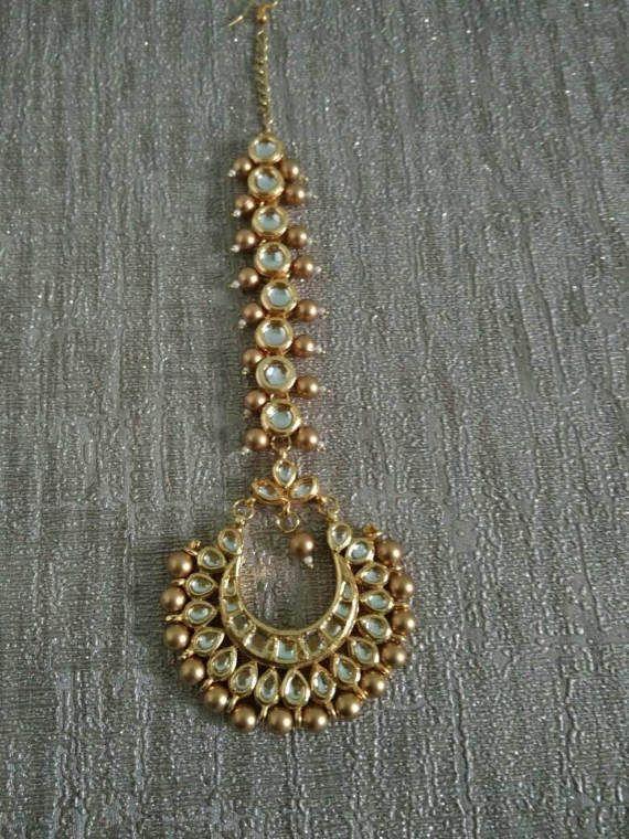 Bollywood Kundan Maang Tika head piece, Indian Pakistani hair jewellery, Gold plated Kundan Pearls Matha patti Hijab jewelry, Meenakari