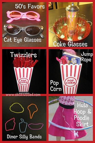 Hula Hoops and Jump Rope as Party Favors.  Glitter jump ropes and hula hoops on Oriental Trading.  Decorate hula hoops with craft tape!!!
