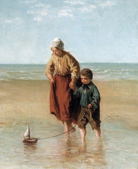 Jozef Israëls (Dutch Realist painter, 1824-1911) Sailing the Boat at Sea