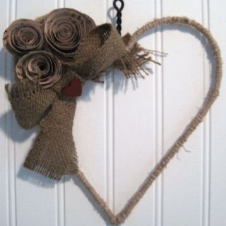 Burlap and roses heart