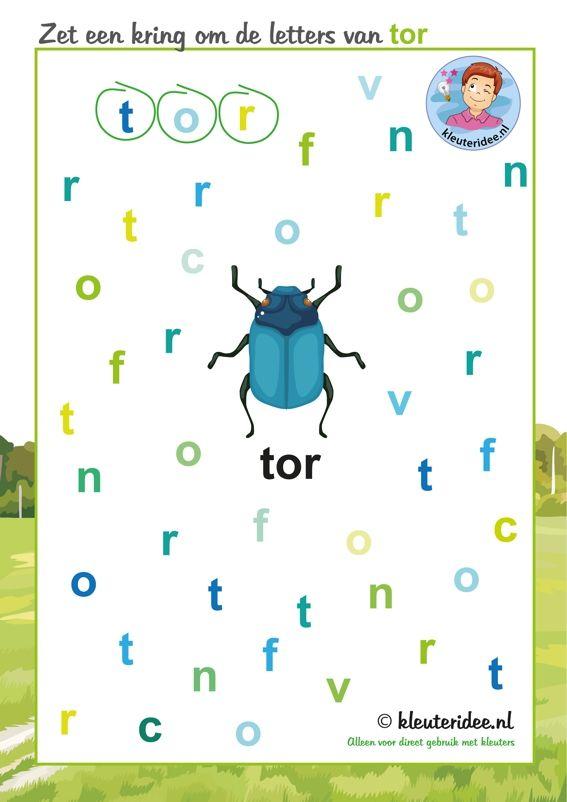 Zet een kring om de letters van tor, thema insecten en kriebelbeestjes voor kleuters, kleuteridee, free printable.