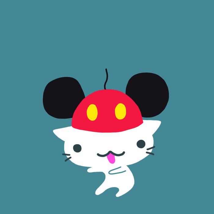 #mickeymouse wannabe #cat #gif for Disney by Cindy Suen
