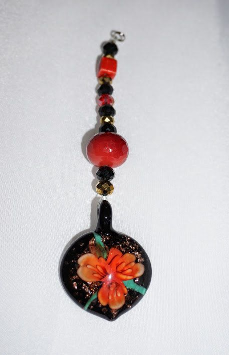 Red and Black, Gold Crystal,   Car Rear View Mirror Charm,  Floral Car Charm,  Lampwork Pendant,   Ready To Ship by EarthDreamsbySunLi on Etsy