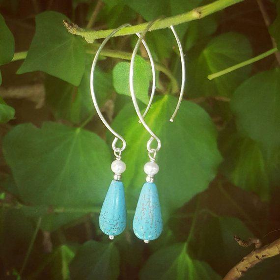 Lange turquoise earrings lange haken draad gewikkeld earring