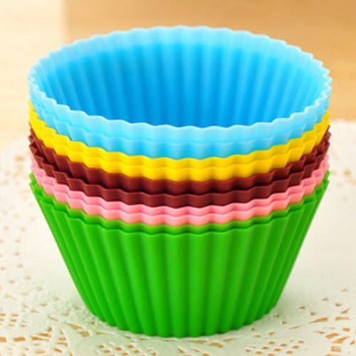 12 Moules a Muffin en Silicone Flexible Anti-adhérent Gâteau Chocolat Pâtisserie