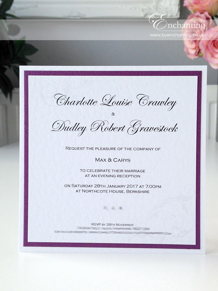 Plum Wedding Invitations The Cinderella Collection