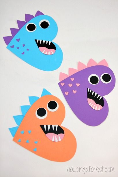 Heart Dinosaur - Valentines Craft for Kids