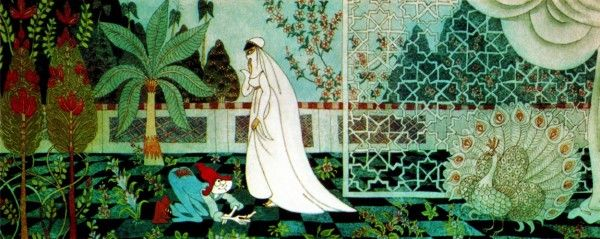 Early concept art by Errol Le Cain of the Cobbler and the Princess in her garden, 1973.