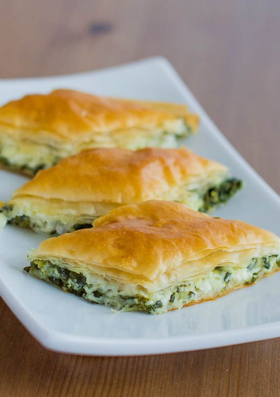 Spanakopita Bites - buttery phyllo with a spinach and cheese filling, super simple to do.