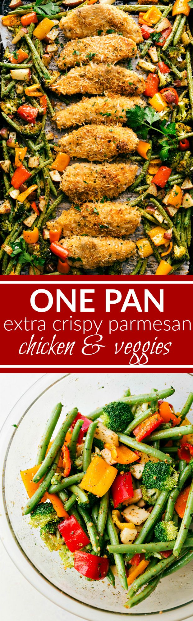 Baked EXTRA CRISPY parmesan chicken and veggies -- dinner made on one pan and packed with flavor! Sure to be a hit with the entire family! via chelseasmessyapron.com
