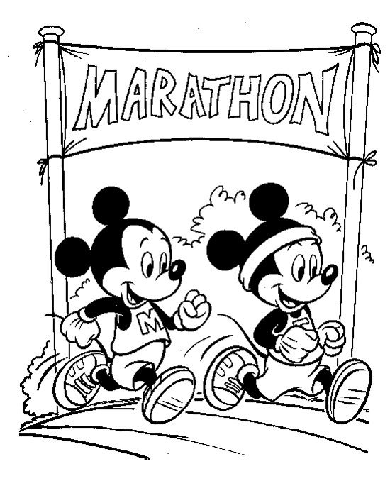 Mickey Mouse Running A Marathon Coloring Page