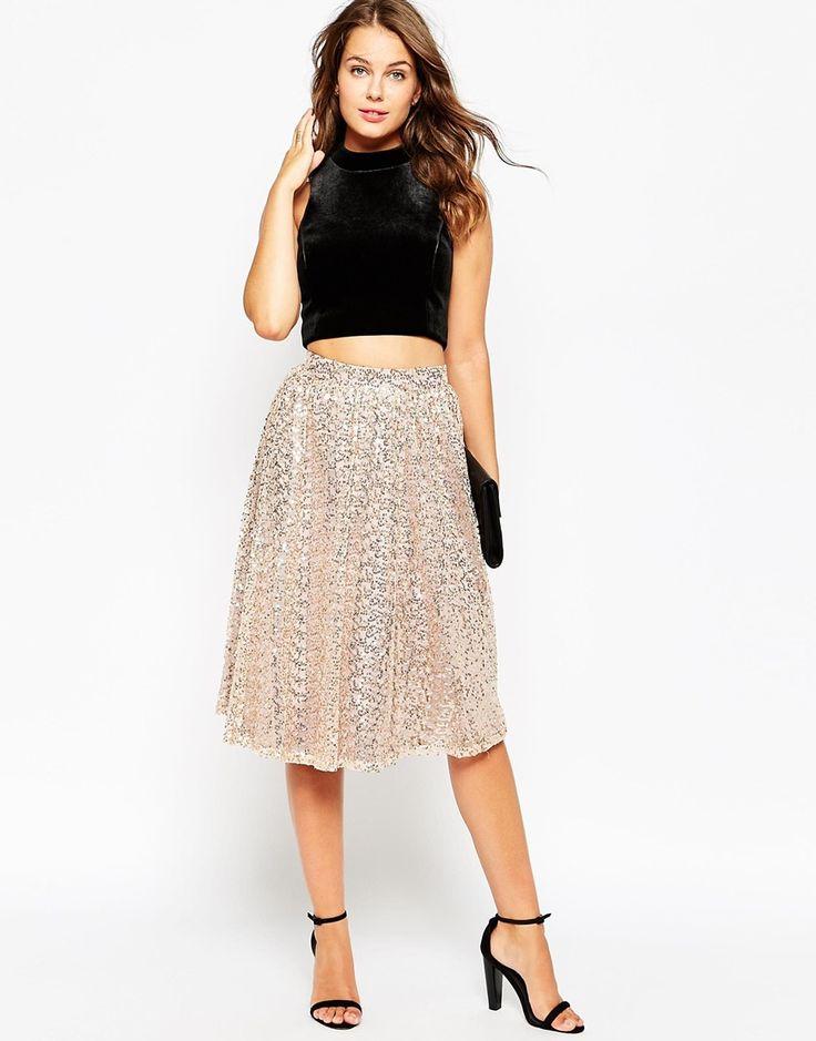Image 1 ofLittle Mistress Full Midi Skirt in Sequins