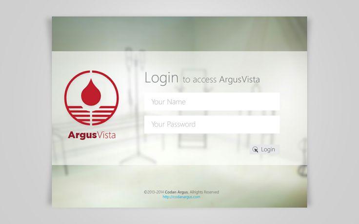 Login Screen for Argus Vista (Windows 8 App) [2013]