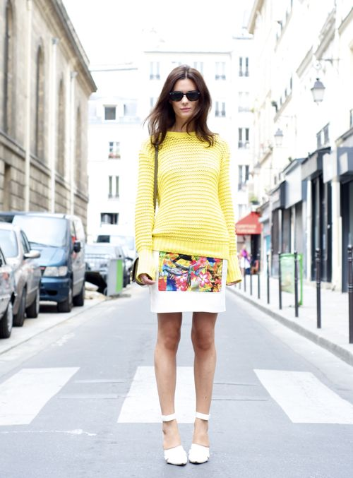 Hedvig 02.07.2012-1: Floral Skirts, Fashion Clothing, Leather Skirts, Style Inspiration, Chunky Sweaters, Yellow Sweaters, Summer Skirts, Bright Skirts, Bright Colors