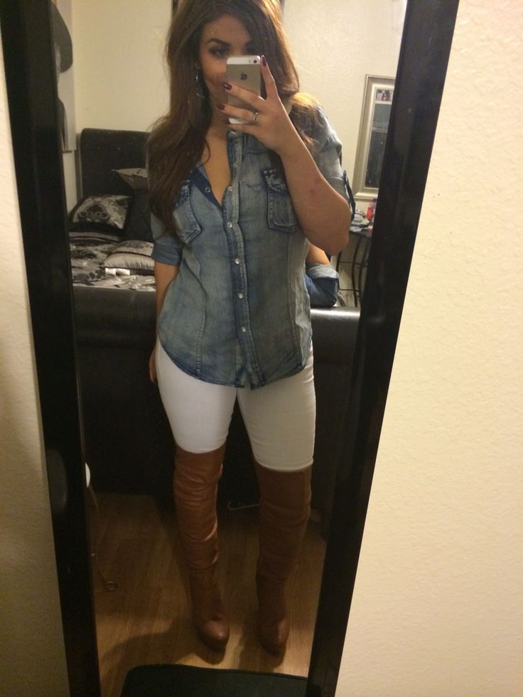 Early Fall Outfit: White denim jeans, chambray top and tall brown boots.