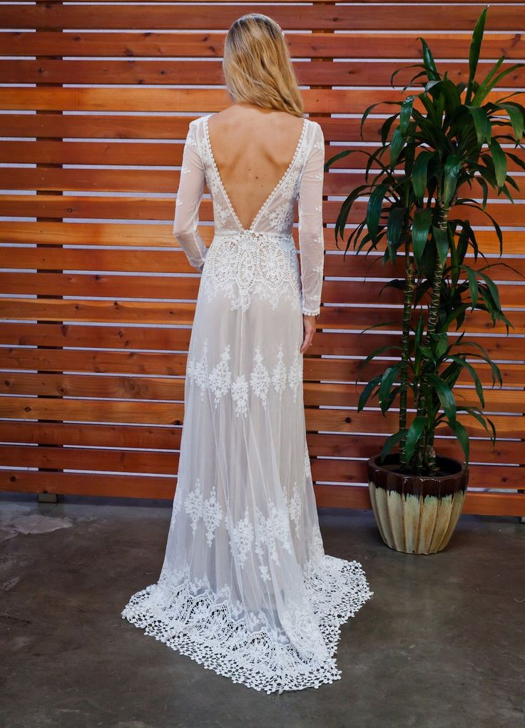 Lisa Lace Bohemian Wedding Dress Cotton Lace by Dreamersandlovers