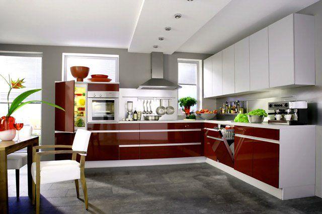 мебель кухни белый глянец П-образная - Поиск в Google