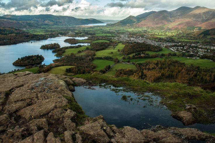 "wanderthewood: "" The summit of Walla Crag, looking down onto Derwent Water, Bassenthwaite Lake and Keswick, Lake District, England by Steve Brannon """