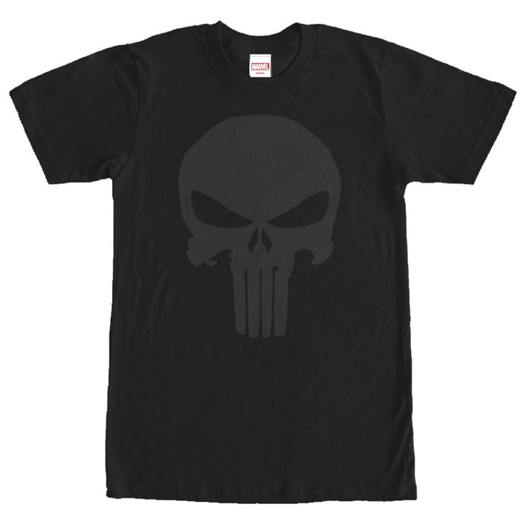 Frank Castle haunts the night, blending into the shadows, to seek out the citys criminals on the Marvel Punisher Night Skull Symbol Black T-Shirt. The infamous Punisher emblem is  in a black on black style on this black Punisher shirt.