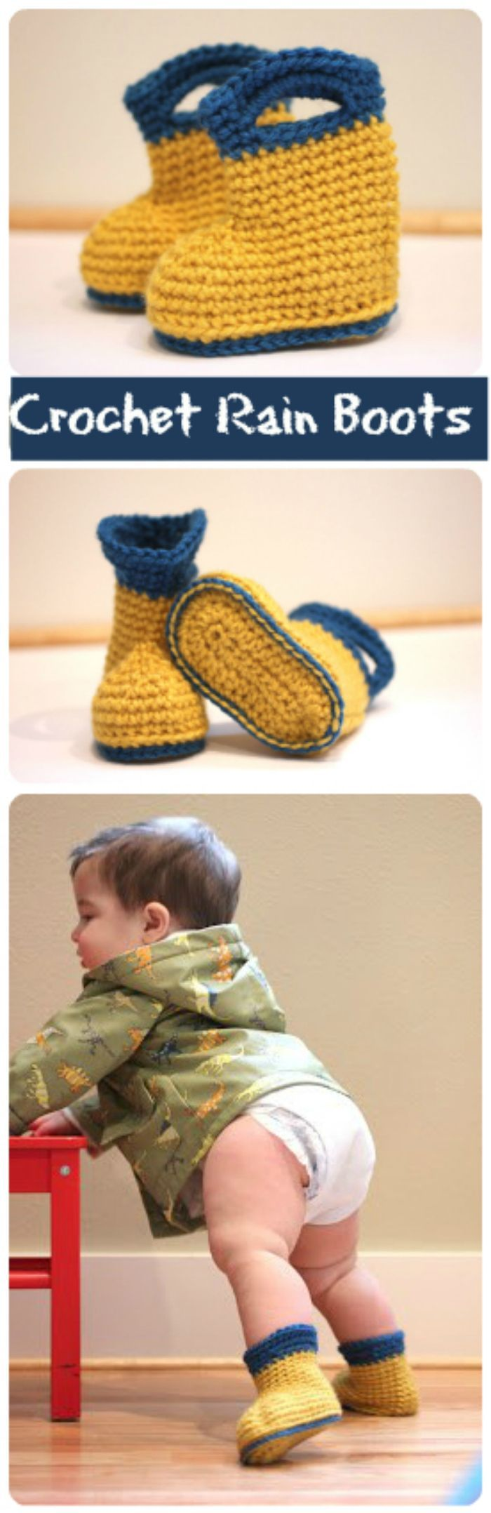 Crochet Rain Boots - 17 Free Crochet Baby Booties Pattern / Crochet Baby Shoes - Page 2 of 4 - I Heart Crafty