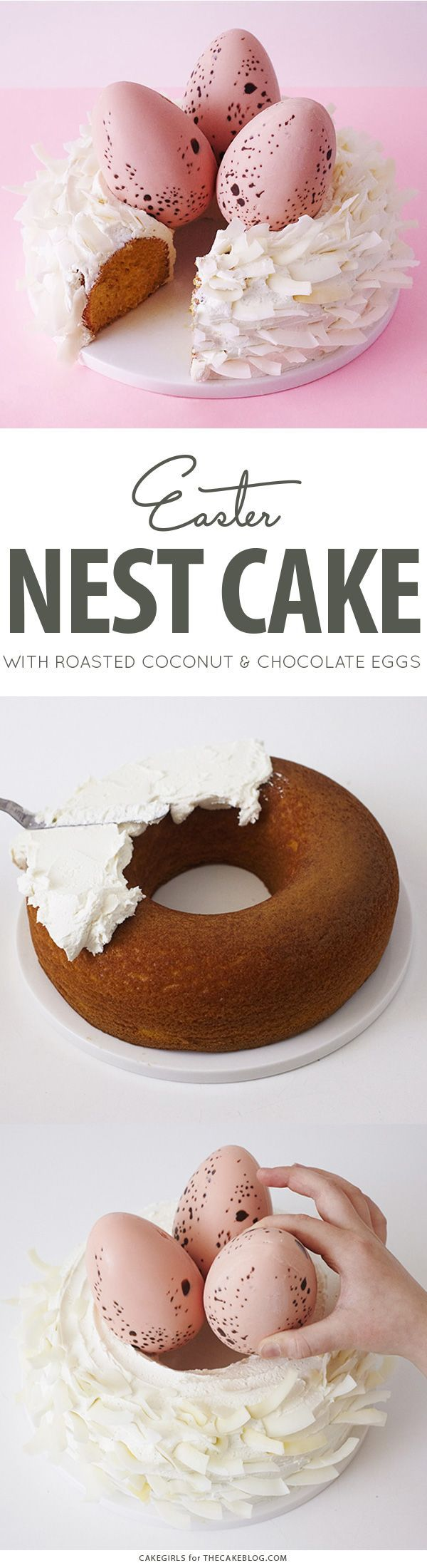 Easter Nest Cake - how to make a nest cake with roasted coconut and chocolate eggs for Easter dessert   by Cakegirls for TheCakeBlog.com