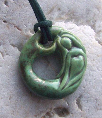 Green Ceramic Mermaid Pendant by AquaLunaArts on Etsy, £18.00