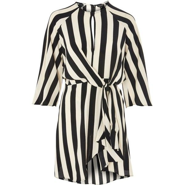 Topshop Petite Stripe Knot Front Dress ($59) ❤ liked on Polyvore featuring dresses, topshop, monochrome, going out dresses, striped shift dress, mini dress, petite shift dress and short party dresses