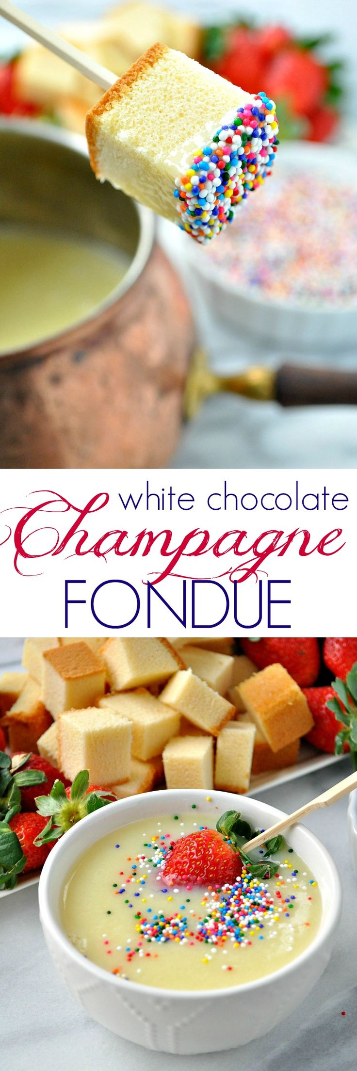 You only need 4 ingredients and about 15 minutes for this decadent White Chocolate Champagne Fondue, which is a perfect dessert for New Year's Eve, Valentine's Day, anniversaries, or any other special occasion!