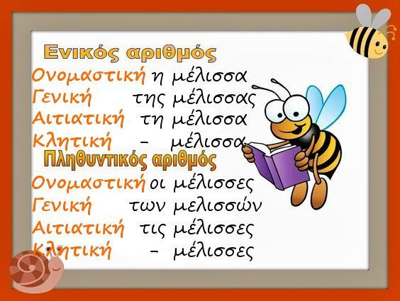 Κλίση θηλυκών ουσιαστικών σε -α,η μέλισσα