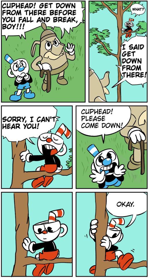 He doesn't come down to elder kettle but to mugman, he does ok that is kinda cute
