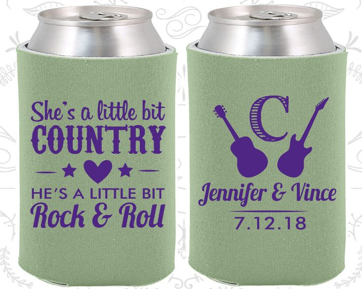 She's a Little Bit of Country, He's a little bit of Rock and Roll, Country Wedding Gift, Rock and Roll Wedding Gift, Cheap Koozies (467)